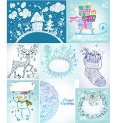 Christmas card big set vector image vector image