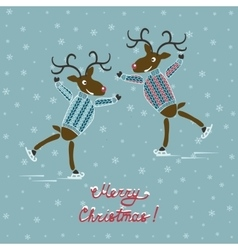 Christmas deers on skates vector