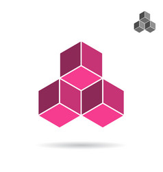 Cubes collected together cube icon vector