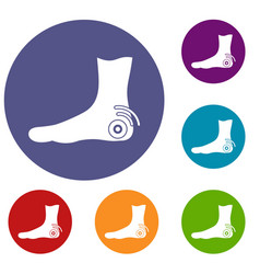 Foot heel icons set vector