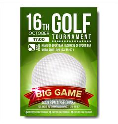 Golf poster golf ball vertical design for vector