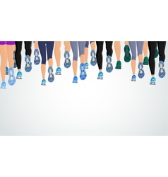 Group running people legs vector image