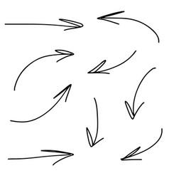 hand drawn arrows pointers vector image vector image