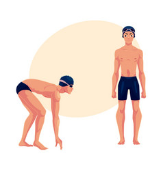 Male swimmer in swimming suit cap standing and vector