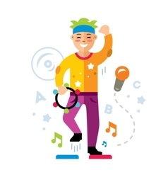 Man in karaoke club Flat style colorful vector image vector image