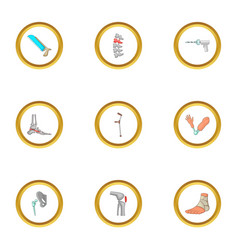 orthopedic icons set cartoon style vector image