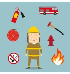 Powerful fireman with fire fighting tools vector