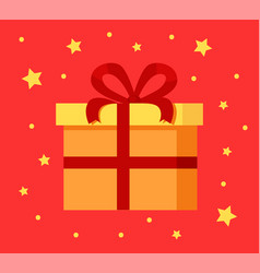 Present gift box in decorative wrapping paper icon vector