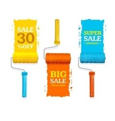 Sale labels roller brush set vector