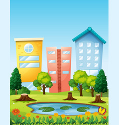 Scene with three buildings by the pond vector