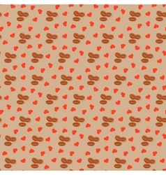 Seamless background with coffee grains and hearts vector