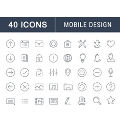 Set Flat Line Icons Mobile Design vector image vector image