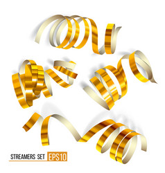set of gold curling streamers on white vector image