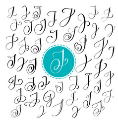 set of hand drawn calligraphy letter j vector image vector image