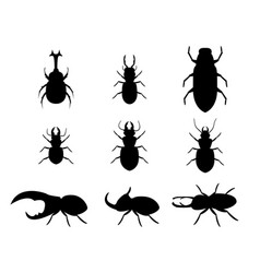 Set of stag beetle in silhouette style vector