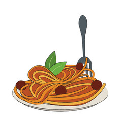 spaguetti food restaurant vector image