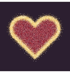 Valentine s day symbol heart gold sparkles and vector
