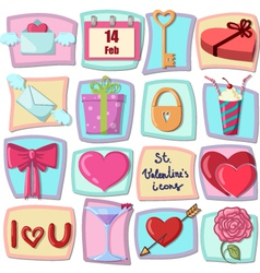 Valentines day icons design elements vector image vector image