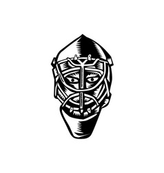 Ice hockey goalie helmet woodcut vector