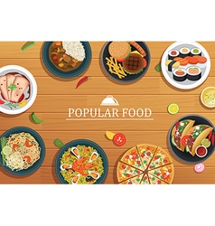 Popular food on a wooden background popular food vector