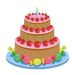 Birthday Cake With Candles And Candies Isolated On vector image