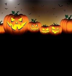 Pumpkin set scary face of happy halloween on black vector