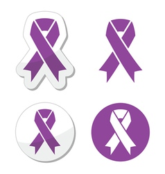 Purple ribbon pancreatic cancer symbol vector