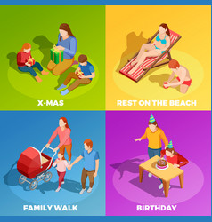 family activities 4 isometric icons square vector image