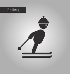 black and white style icon skier vector image