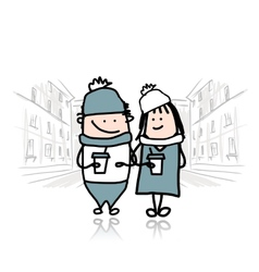 Couple walking in city with coffee cups vector