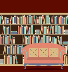 Reading seat in front of a bookcase vector