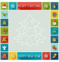 Merry christmas and happy new year frame vector
