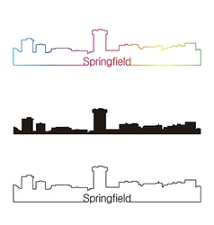 Springfield skyline linear style with rainbow vector