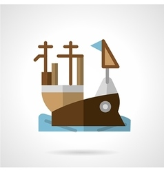 Aircraft carrier flat color icon vector