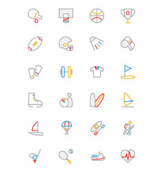 Sports colored outline icons 1 vector