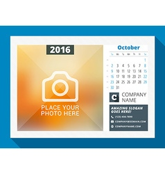 October 2016 desk calendar for 2016 year design vector