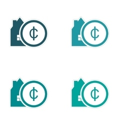 Stylish assembly sticker on paper house and money vector