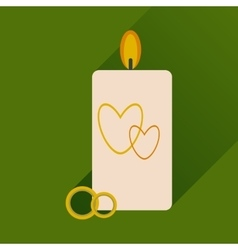 Flat icon with long shadow wedding candle vector