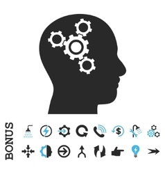 Brain mechanics flat icon with bonus vector