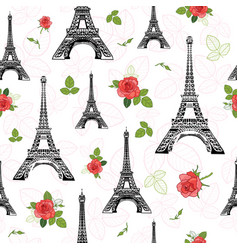black red eifel tower paris and roses vector image vector image