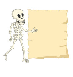 cartoon funny human skeleton with blank sign vector image vector image