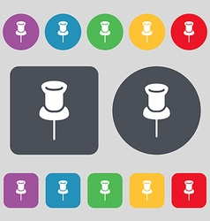 Clip icon sign a set of 12 colored buttons flat vector