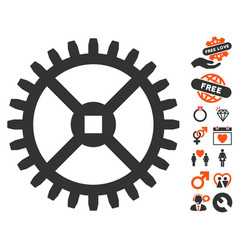 clock gear icon with valentine bonus vector image