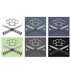 Crossed butterfly knifes with steel brass knuckle vector image vector image