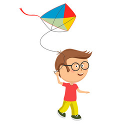 Cute little nerd boy playing with colorful kite vector