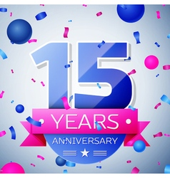 Fifteen years anniversary celebration on grey vector