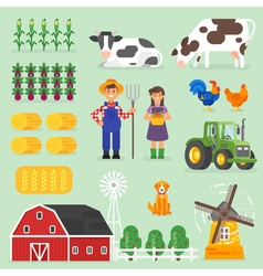 flat style farming set Farmers cows and chickens vector image vector image
