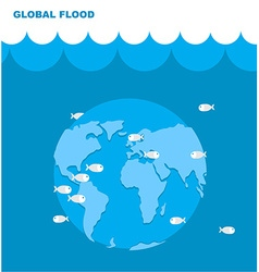 Flooding of planet earth world in water land under vector