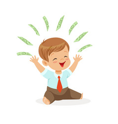 happy boy businessman playing with money flying vector image
