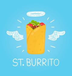 heaven burrito concept st burrito with angel vector image